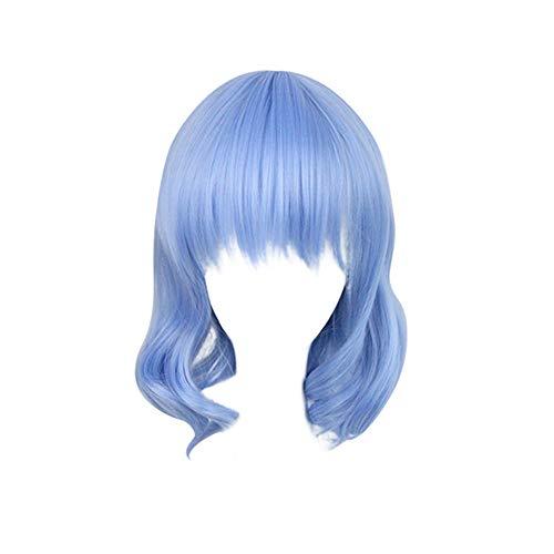 FuHouse 35cm Lolita kurze lockige Perücke mit Pony Mädchen blau Halloween Cosplay Anime Perücke kurze Perücke
