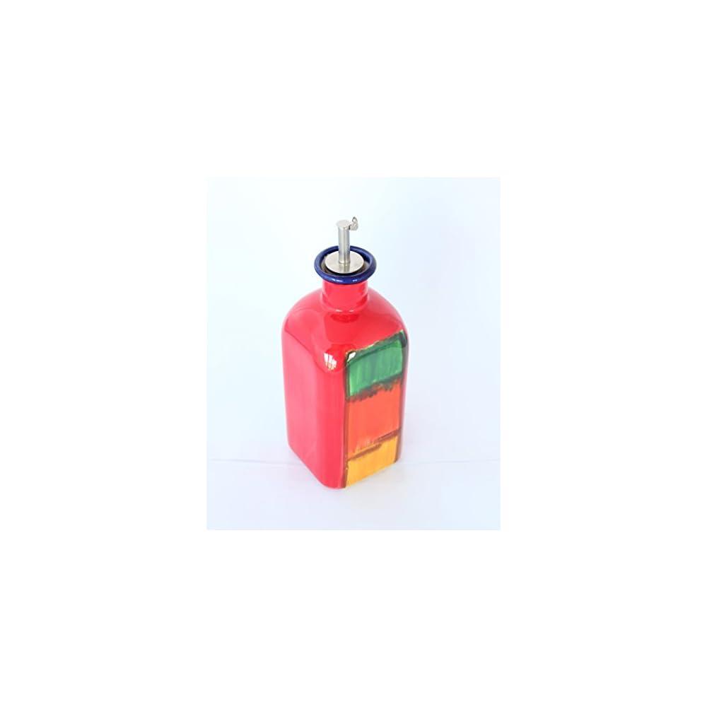 Lflascheessigflasche Keramik Quadratisch Gro Handbemalt Mit Edelstahl Kapazitt 34 L Tapon Manahmen 8 Cm X 8 Cm Breite X 21 Cm Ohne Stpsel Und 26 Cm Mit Deckel