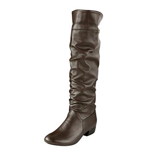 Damen Schuhe DEELIN Damen Winter Kniehohe Stiefel High Tube Flat Heels Reitstiefel Profilsohle Leder Optik Stiefeletten (35, Braun)