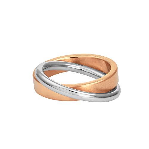 Heideman Ring Damen Duplex Rosegold aus Edelstahl Rosegold farbend matt Damenring für Frauen Rollring Spielring Dreierring 3er