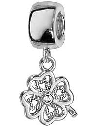 1001 Bijoux - Charms coulissant argent rhodié suspendu trèfle à 4 feuilles avec pierres blanches