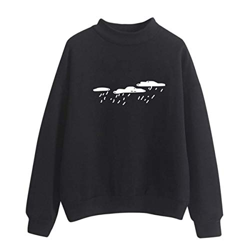 f1ec2c66b6e36 Hbvza Korean Style Clothes Women Long Sleeve Sweatshirt Cloud Rain Printed  O-Neck Sweatshirt Tops Moletom Feminino Inverno Black M