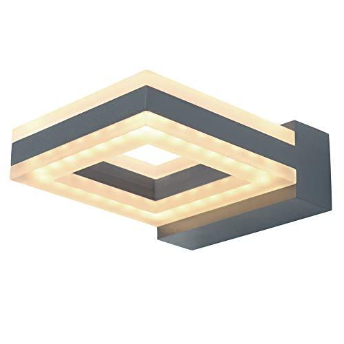 LASIDE LED Wandleuchte Außenleuchte, 12W 730LM Aluminium Eckig Anthrazitgrau Außenlampe Aussenleuchte, IP54 Spritzwassergeschützt Aussenlampe für Garten, Hausflur, Hof, Balkon, Terrasse, Garage
