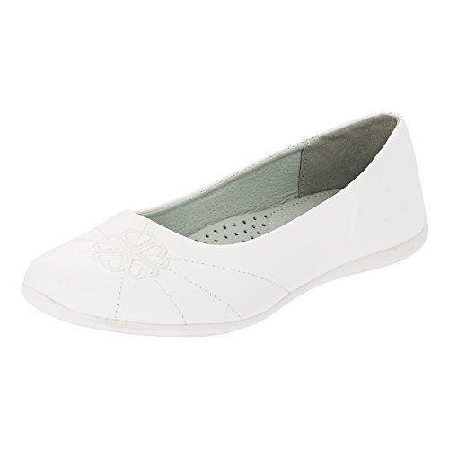 Festliche Mädchen Ballerinas Schuhe für Hochzeit Kommunion Freizeit M340ws Weiß 36 (Schuhe Hochzeit Mädchen)