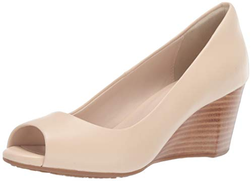 Cole Haan Damen Open Toe Wedge 65MM Sadie, zehenfrei,Keilabsatz, 65 mm, Brazilian Sand Leather, 37.5 EU Cole Haan Open Toe Pumps