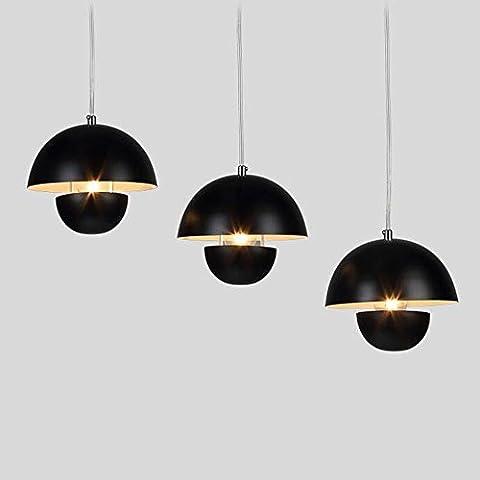 Creativa americana personalidad simple retro industrial tres hierro candelabro Restaurante Bar Bar Araña (color, estilo opcional) ( Color : Black-Straight Plate 3 Head
