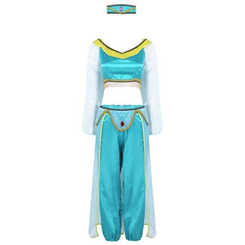 FEESHOW Damen Halloween Cosplay Kostüm Arabische Prinzessin Outfit Schulterfreies Bauchtanzoberteil+Hosen+Strass Kopfband Set für Dress Up Party Karneval See grün X-Large