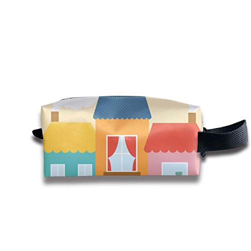 Cartoon Field Building Women Cosmetic Bag Travel Girls Oxford Toiletry Bags Cute Portable Hanging Organizer Makeup Pouch Pencil Case