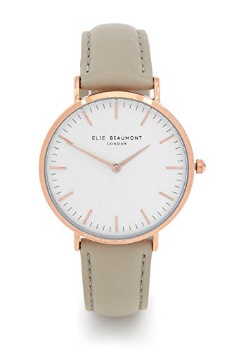 Elie Beaumont Quarz Große Oxford Stone Leder Damen Armbanduhr mit creme Zifferblatt Analog Display