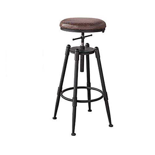 Silla de bar elevador taburete de madera maciza café giratorio taburetes altos home bar silla cocina taburete de desayuno altura regulable con 4 patas de hierro cojín suave de cuero sin respaldo