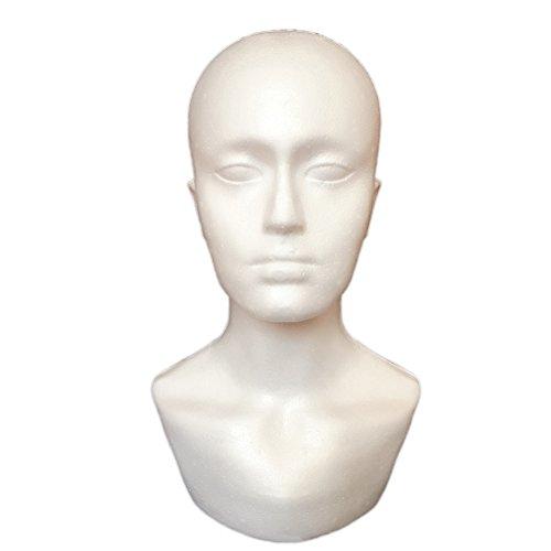 DERKOLY Männlicher Schaum Mannequin Kopf Modell Professionelle Bald Puppe Kopf Maske Hut Perücke Haar Schmuck Headset Schals Gläser Ständer Werkzeug Schaufenster Display Requisiten White