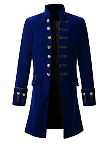 Pxmoda Herren Frack Steampunk Gothic Jacke Vintage Viktorianischen Langer Mantel Kostüm Cosplay Kostüm Smoking Jacke Uniform (L, B-Blau) (Tuxedo Jacke Kostüm)