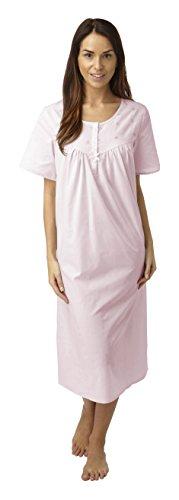 Longue en polyester/coton à manches courtes ou Nightdress. rose Bleu Taille 40–42/44–46/48/50 52–54 Gris - Bleu