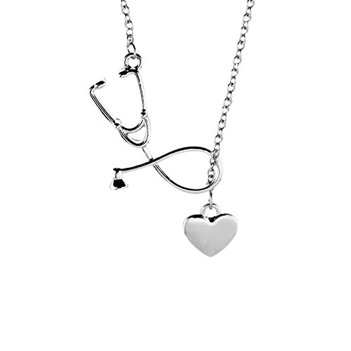 Fengteng Charm Damen Halskette Herz Hohl Stethoskop Anhänger Herzschlag Heart Kreativ Halsschmuck Herz Medizin Arzt Abzeichen Geschenk (Silber)