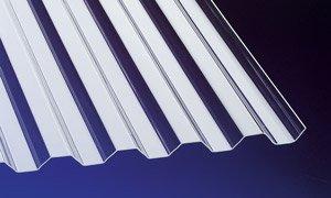 Acryl Wellplatten Profilplatten Trapez 76/18 klar ohne Struktur 2000 x 1045 x 1,5 mm