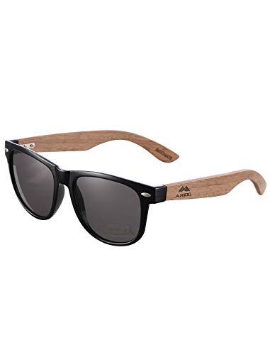 Amexi Herren Damen Polarisierte Sonnenbrille, Unisex Holz/Bambus Sonnenbrille, UV400(schwarz)