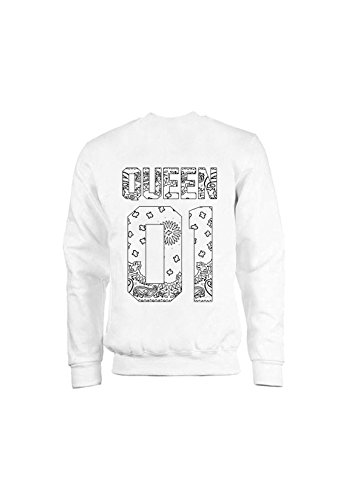 KING & QUEEN - SWEAT COL ROND QUEEN 01 - White Bandana Blanc
