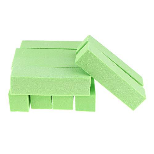 B Blesiya Lots de 10 pcs Blocs Polissoirs Lime à Ongles Nail Art Tampon de polissage Manucure Pédicure Outil de Coupe Ongle - Vert