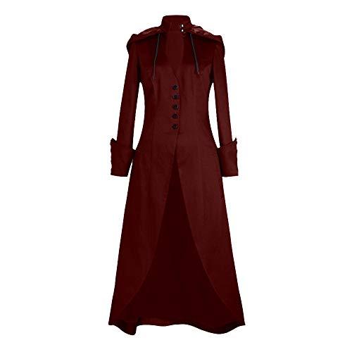iHENGH Damen Herbst Winter Bequem Mantel Lässig Mode Jacke Frauen Lange Hülsen Feste Ordnungs Knopf Bandage Kap unregelmäßiger Frack Outwear Mantel
