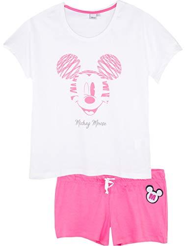 Disney Damen Schlafanzug Minnie Mickey kurz Baumwolle SE3589 Gr. Large, White - Oversized Top -