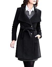 Minetom Donna Elegante Giacca con Bottoni Cintura in Lana con Risvolto  Soprabito Manica Lunga Invernale Cappotto 3453634382e