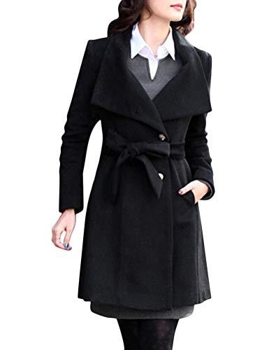 Minetom Manteau Veste Femme Hiver Bouton Blouson en Laine à Manches Longues Ceinture Revers Tranchée Pardessus Elégant Chic Chaud Parka Noir FR 42