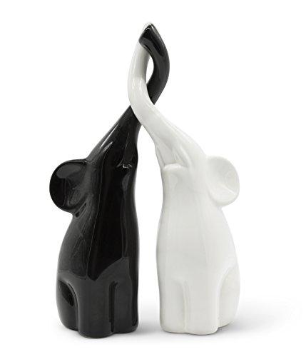 Harmonisch umschlungenes Elefanten-Pärchen aus Keramik in Schwarz und Weiß, modernes Skulpturen-Paar aus zwei einzelnen Elefanten, Deko-Figur 26cm hoch, Elefant gut als Geschenk geeignet