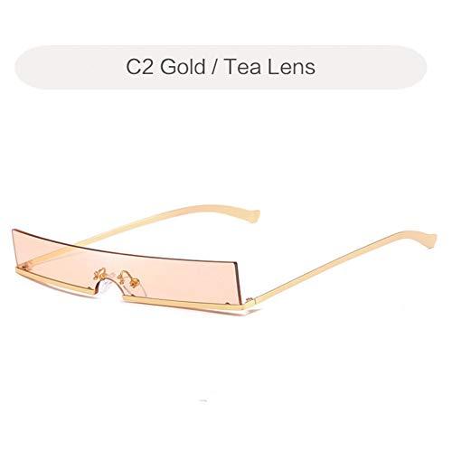 YLNJYJ Sonnenbrillen Cat Eye Sonnenbrillen Damenmode Metallrahmen Kleine Sonnenbrille Vintage Rechteckige Dünne Damen Gelbe Gläser