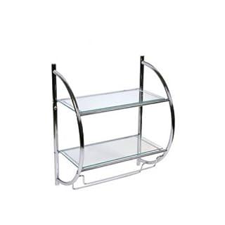 Hochwertiges Designer -Badregal-Wandregal-Glasregal - mit 2 Ablagen Größe: 45*26*54cm-aus Glas - Korpus aus hochglanzverchromtem poliertem Metall - mit zwei Handtuchhaltern-AWD Design A029
