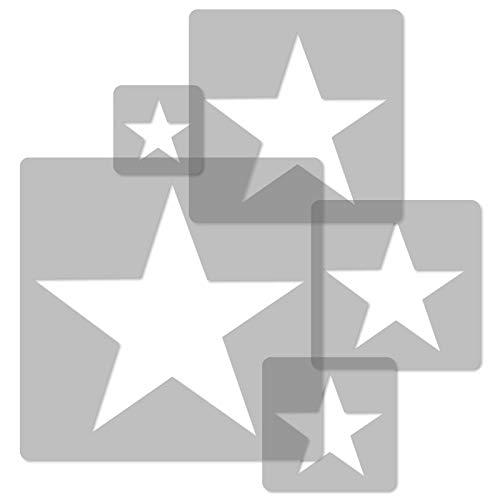 5 Stück wiederverwendbare Kunststoff-Schablonen // STERN // 34x34cm bis 9x9cm // Kinderzimmer-Dekorarion // Kinderzimmer-Vorlage - Stern-schablonen
