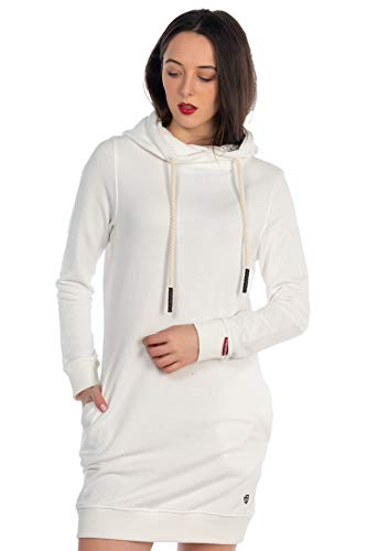 KENNY BROWN Damen Pulli-Kleid Sweater Pullover-Kleid Sweatkleid Kordel-Kapuze Hoodie einfarbig modisch Minikleid 502 (Weiß, M)