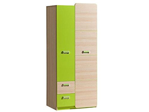 Smartbett - armadio limo con 2 ante e 2 cassetti, in frassino, colore naturale/verde