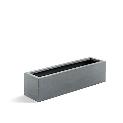 "Luca Lifestyle Pflanzkasten ""Argento Balcony Box"" Betongrau Rechteckig Fiberglas *5 Jahre Garantie* - 60x15x15cm - F1089"