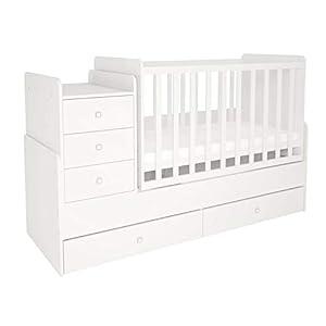 Polini Kids Kombi-Kinderbett mit Kommode natur Wippfunktion