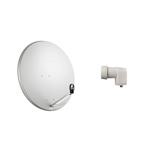 KIT PARABOLA OFFSET ANTENNA SATELLITARE DA 60 CM CONVERTITORE LNB 1 USCITA DVB-S SAT