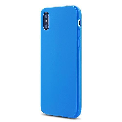 iphone X Schutzhülle,Silikon-Abdeckung Stoß- Ultra Slim Glanz Gel Stoßstange flexibel und weich iphone X Hülle TPU Stoßstange transparent dunkelblau