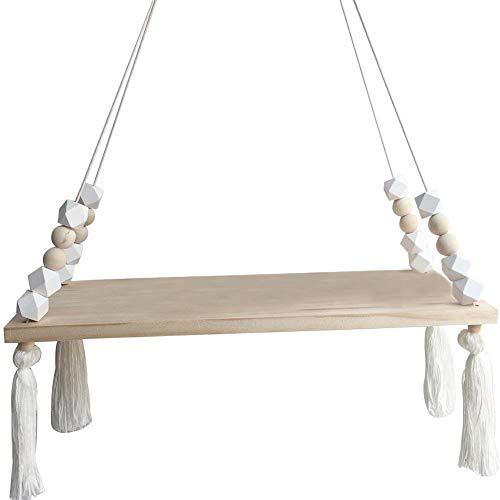 Fablcrew - Estantería de Pared Decorativa Colgante con fijación de Cuerda de Madera para niños y bebés, Estilo nórdico