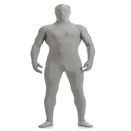 IWEMEK Herren Zentai Jumpsuit Second Skin Kostüm Full Bodysuit Zipper Catsuit Overall Reißverschluss Bodys Clubwear Männerbody Ninja Cospaly Karneval Halloween Ganzkörperanzug Nachtwäsche Grau 2XL (Green Ninja Halloween-kostüme)