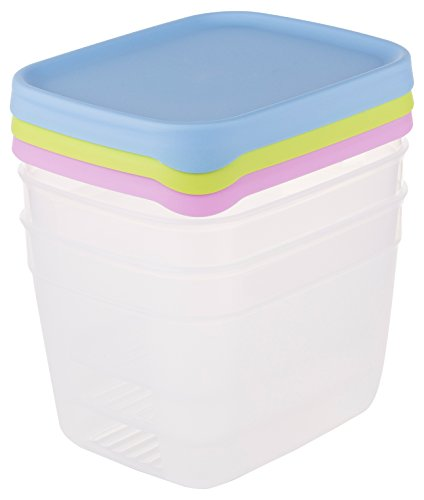 Amuse set di 3barattoli set frischhalten dose set con contenitori con coperchi colorati, 900ml, plastica, più colori, 16x 13x 8cm, 3unità
