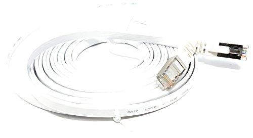 7,5m–flach–Cat. 7–Ethernet Gigabit LAN Netzwerkkabel (RJ45) | 10/100/1000Mbit/s–für Streaming | suhd TV | IPTV | Desktop-PC | Server | Laptops | Netzwerk Drucker | Halogen frei/10GBS–Hohe Qualität–Kompatibel mit Cat. 5/CAT. 5e/CAT. 6| Switch/Router/Modem/Patch Panel/Access Point/Patchfelder | weiß