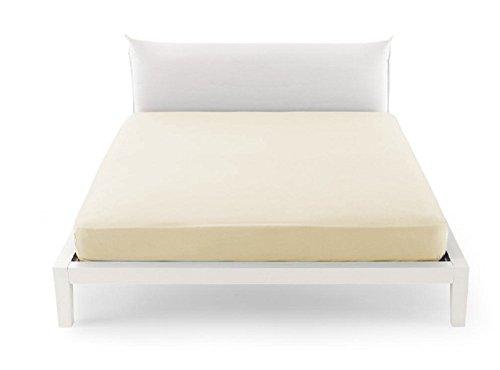 Lenzuola lenzuolo sotto maxi con angoli letto singolo 100% cotone (singolo 95x200, panna)
