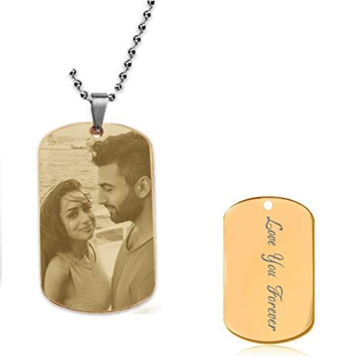 Yanday Titan Stahl Halskette benutzerdefinierte Bild und Text personalisierte Halskette (Gold 26) (Namen Rip Halloween)