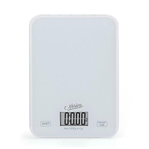 NOSIVA Digitale Küchenwaage mit großer LCD Anzeige - Weiss Hartglas Stand Waage für Lebensmittel/Kräuter/Kaffee, Hohe Präzision auf bis zu 1g (5kg Maximalgewicht)