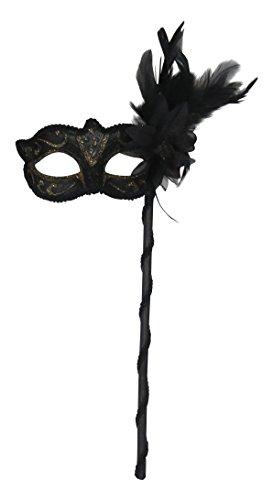 Schwarze Maske Mit Stock - Damen Schwarze und Gold Funkelnd Venezianische