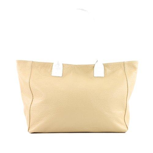 ital. Tasche Damentasche Ledertasche Handtasche Schultertasche ECHT LEDER T60 Beige
