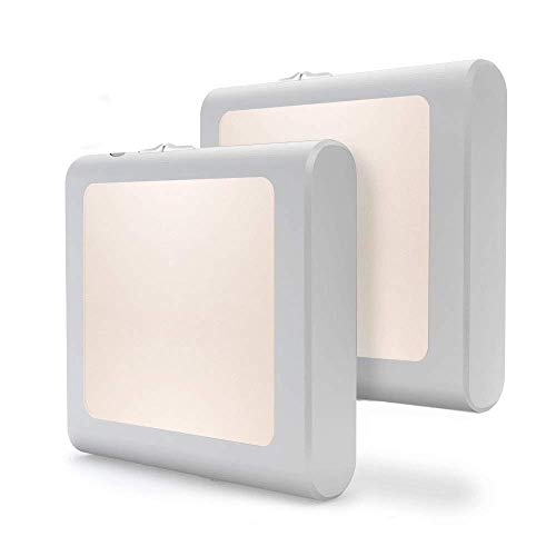 Vintar Nachtlicht Steckdose mit Automatischem Dämmerungssensor, Einstellbare Helligkeit Warmweißes Nachtlampe für Kinderzimmer Flur,Schlafzimmer,Wohnzimmer,Küche,Treppenhaus,Badezimmer [2-Pack] -