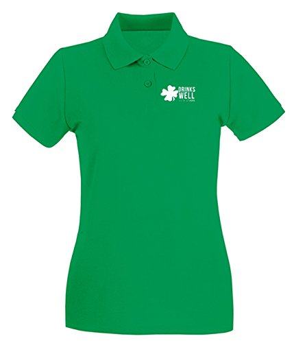 Cotton Island - Polo pour femme TIR0038 drink well with others tshirt Vert