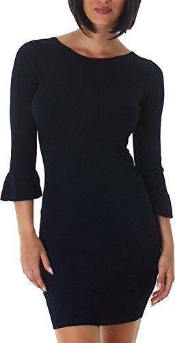 Voyelles Damen Kleid Strickkleid Strick Rundhals-Ausschnitt Pulloverkleid Mini Party Cocktailkleid 34,36,38 Marine
