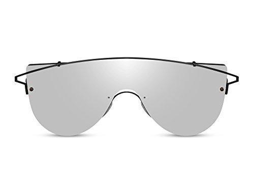 Cheapass Herren-Sonnenbrille Silber-n Schwarz Groß UV-400 Trendy Männer