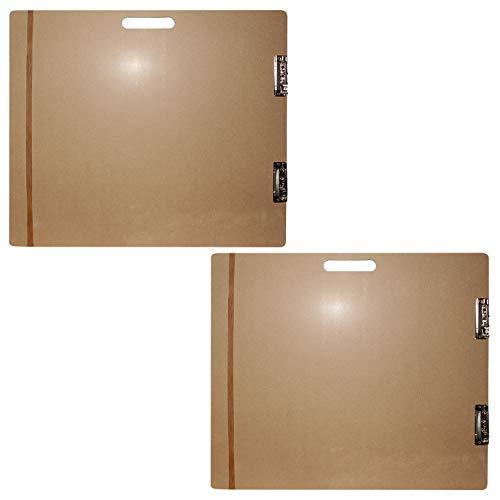 Großes Holz Zeichenbrett (2er Set) - Holz Sketch Board - Klemmbrett mit langem elastischem Band und Metallklemmen 66cm x H58cm - Extrafeste Künstler Palette zum Malen, Zeichnen, Sketching -